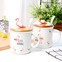 Cartoon Cute Flamingo Coffee Cup Creative Ceramic Self Stirring Mug Breakfast Coffee Mugs Canecas Personalized Milk Mug With Lid