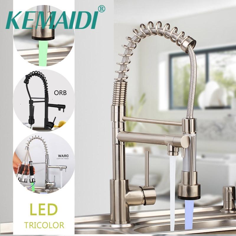 Kemaidi primavera torneira da cozinha pull out lado pulverizador dupla bico único punho misturadora torneira da pia 360 rotação torneiras de cozinha