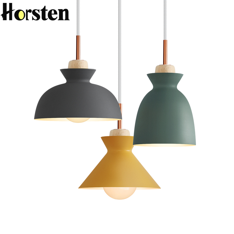 Horsten Nordic Scandinavian Modern Colorful Pendant Light Simple Metal Lampshade Pendant Lamp Creative Bar Cafe Hanging Lighting