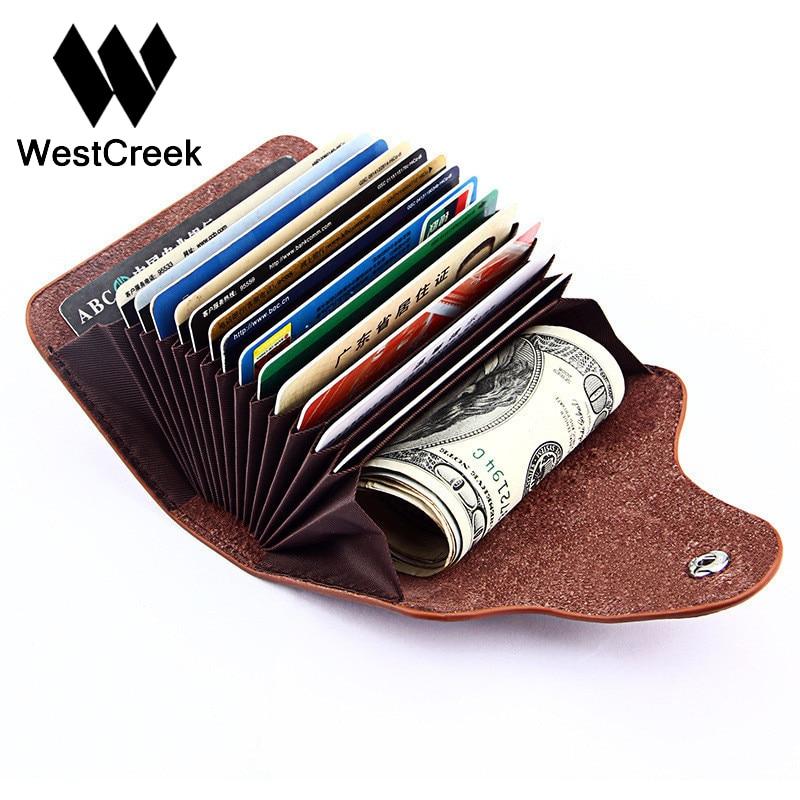 Westcreek Brand Vintage Large Capacity Men Cardholder Split Leather Business Women Credit Card Holder Buckle Card id Holders аксессуар runxin адаптер для умягчителя м 77 в сборе 34230