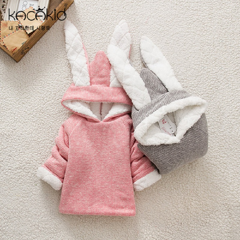Kacakid winter cute baby girls thickening clothes kids plus velvet zipper cotton Hoodies children long ears rabbit Sweatshirts