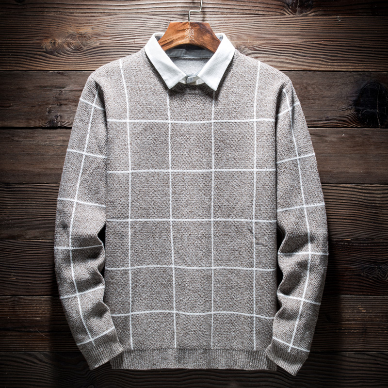 High Quality Sweater Men Wool Patchwork Turn-down Collar Knitted Man Plaid Pullover Sweater Men Slim Korean Casual Sweaters 3XL