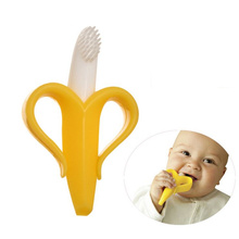 Baby Care Quality Baby Teether Silicone Brush Baby Chews Banana Chewing Teeth Stick Double Color Silica Gel Baby Toothbrush