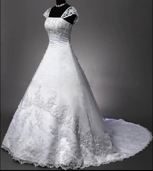Best Selling Wedding Dresses Lace A Line Wedding Dress with Spaghetti Straps any size/color