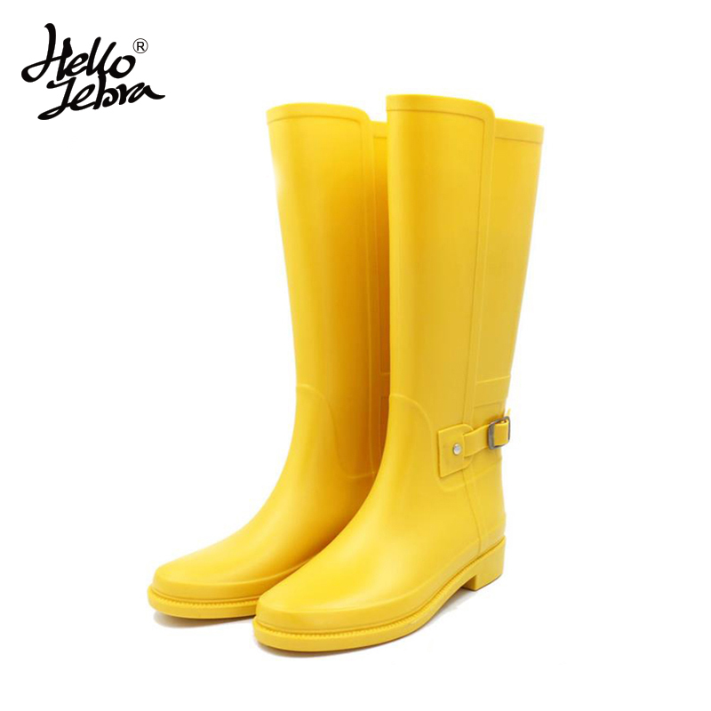 Hellozebra Punk Style Tall Boots Womens Pure Color Rain Boots Outdoor Rubber Water Shoes For Female 2017 New Fashion Design