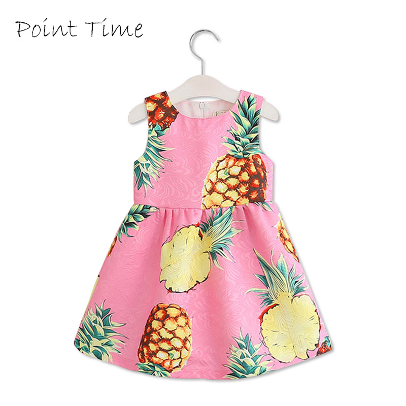 Fashion Baby Girls Dress Pineapple Print Infant Princess Dress 2017 Summer Pink Sleeveless Dresses for Girls Children Clothes