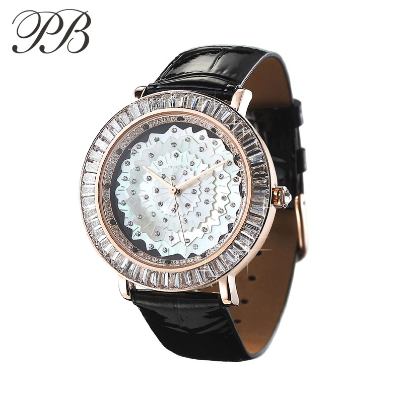 PB Luxury Women Watch Flower Pearl With Crystal Dial Waterproof Leather Strap Ladies Quartz Watch Reloj Mujer Montre Femme