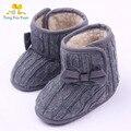 Buena tejer bowknot zapatos de algodón botas de zapatillas de bebé de la muchacha primero a pie de Alta calidad mano de obra xz76