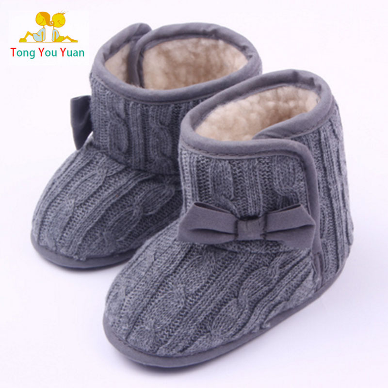 Good bowknot knitting cotton shoes boots slippers baby boy girl first walk High quality workmanship xz76