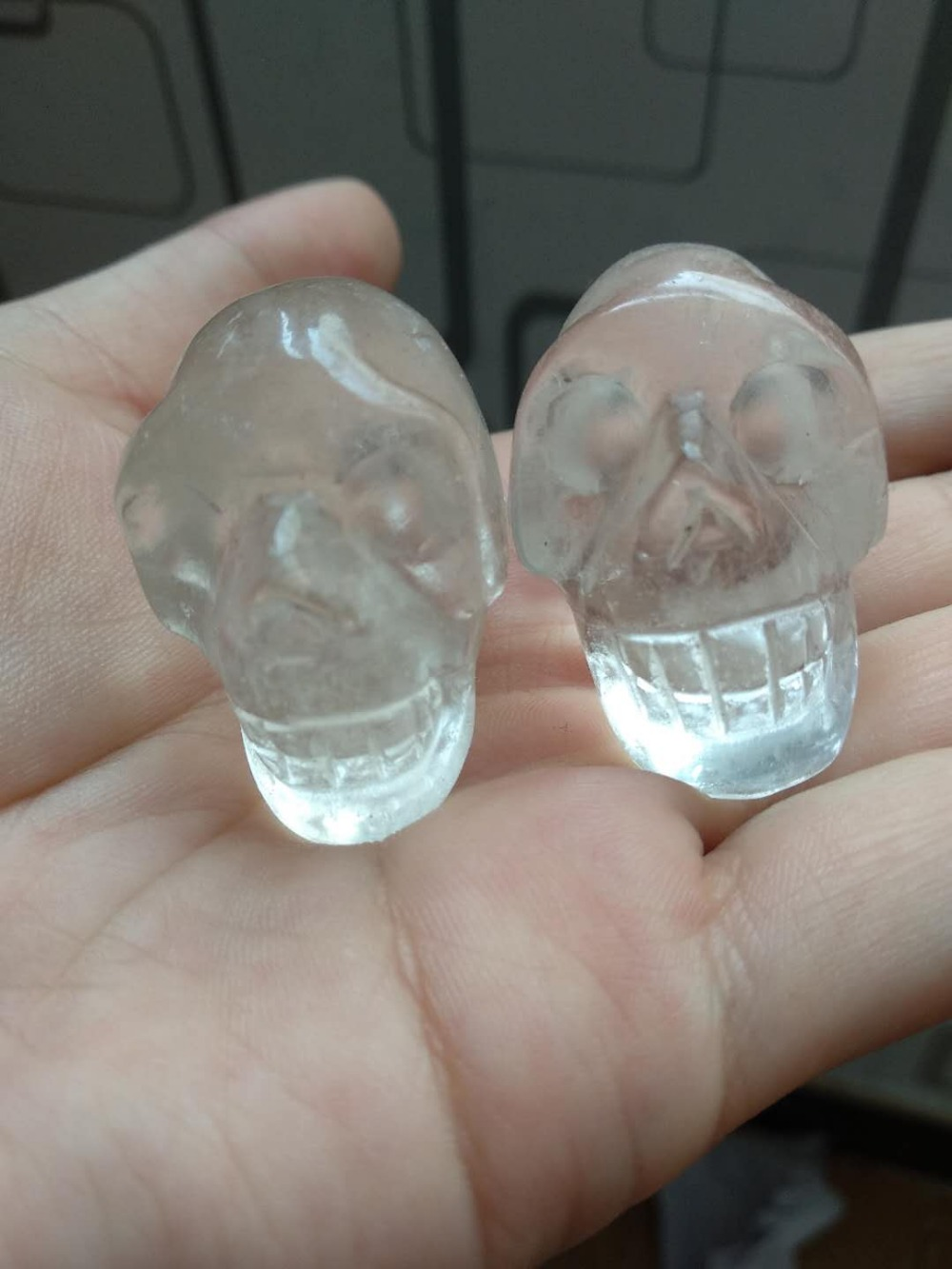 2pcs NATURAL Clear white Crystal carved skull HEALING