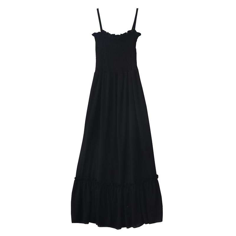 2019 summer new retro gentle long section high waist summer dress sleeveless sling chiffon solid color fairy women dress 4