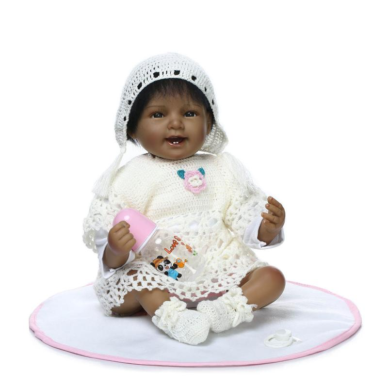 New 55cm Black Skin Soft Silicone Body Reborn Babies Sleeping dolls Girls Lifelike Real Vinyl Bebe Brinquedos Reborn Bonecas new native american black skin african ethnic bonecas reborn dolls 55cm soft silicone vinyl reborn baby dolls with black hair