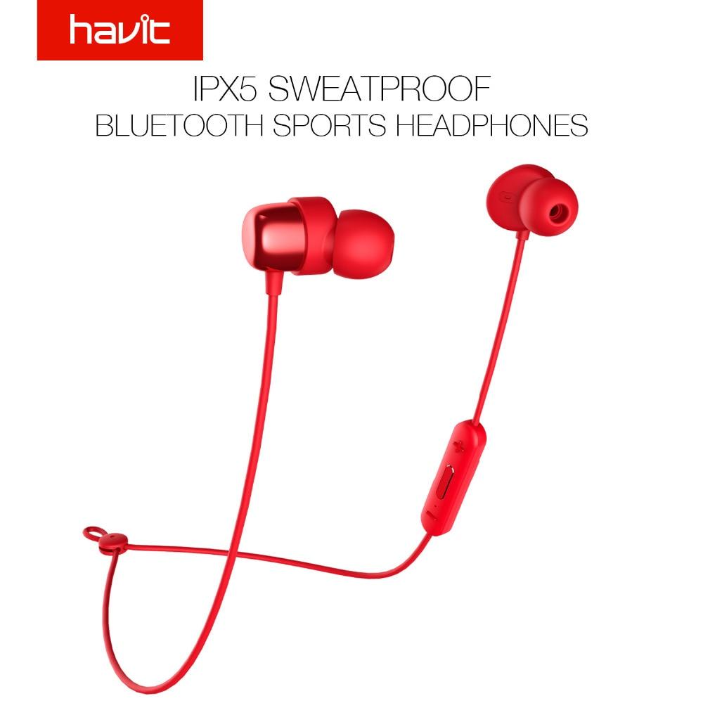 HAVIT Bluetooth Écouteurs V4.2 IPX5 Sweatproof Sport Écouteur Étanche Bluetooth Écouteurs Stéréo Écouteurs avec Microphone I39