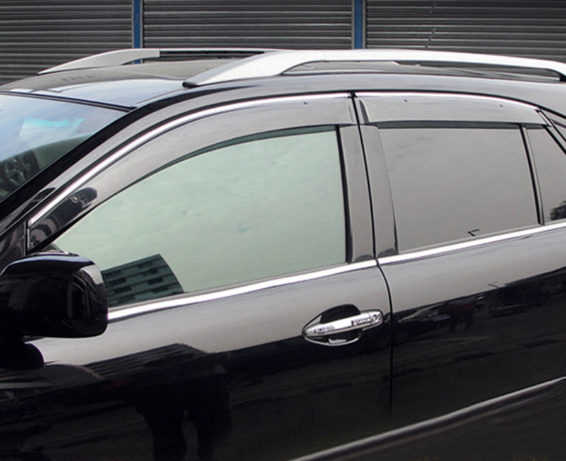 For Lexus RX 350 2010 2011 2012 2013 2014 2015 Plastic Window Visor Rain Sun Shield Guard Deflector Trim 4pcs Car Styling chrome stris window visor sun shade vent guard deflector for mitsubishi asx rvr outlander sport 2010 2011 2012 2013 2014 2015