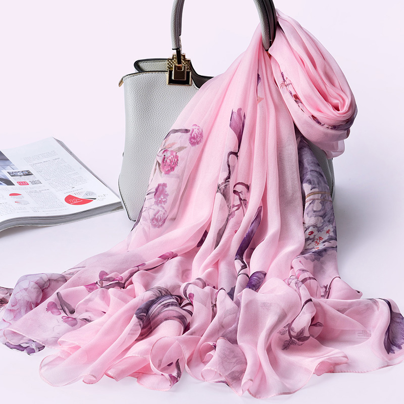100% Real Silk Women   Scarves   Shawls Headscarf Hangzhou Natural Silk   Scarf     Wrap   For Ladies Blanket 2019 Luxury Brand Silk   Scarf