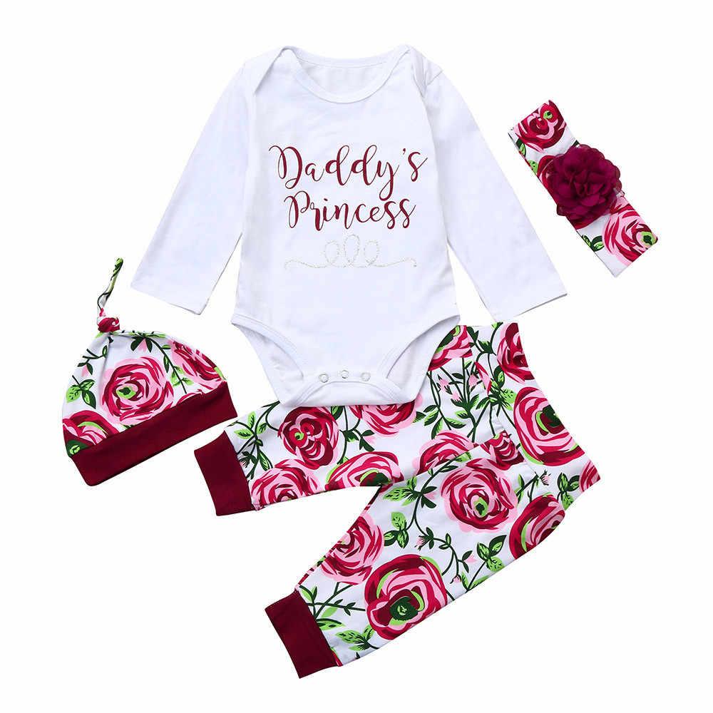 Ropa de manga larga para niñas recién nacidas 4 Uds., mono, Tops, pantalones, diadema, sombrero, conjunto de traje, lindos monos con motivos florales 827