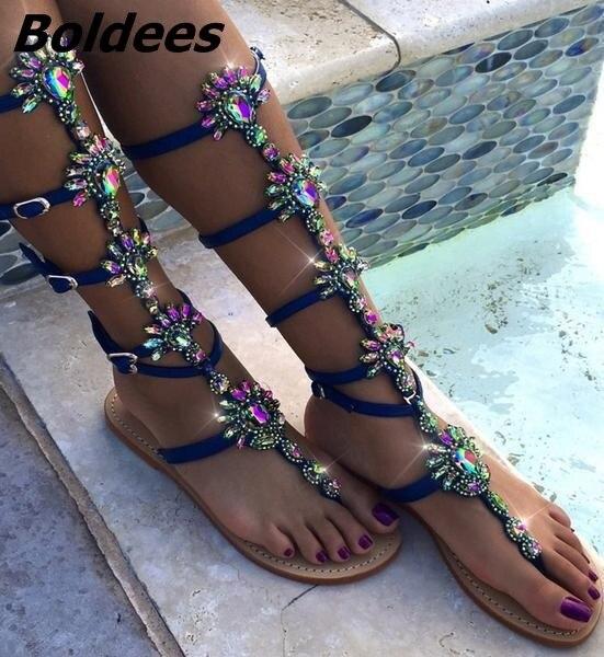 Moda diseño hebilla correas Sandalias planas Mujer rodilla alto strass gladiador sandalia botas Bohemia estilo cristal playa zapatos - 3