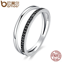 BAMOER Genuine 925 Sterling Silver Double Circle Black Clear CZ Stackable Finger Ring For Women Fine