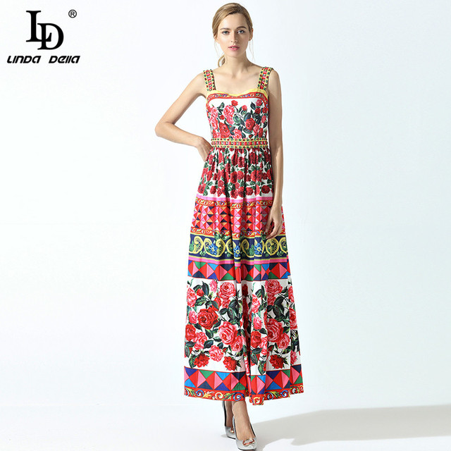 Summer Spaghetti Strap Cute Charming Rose Flower Floral Print Beading Long Dress