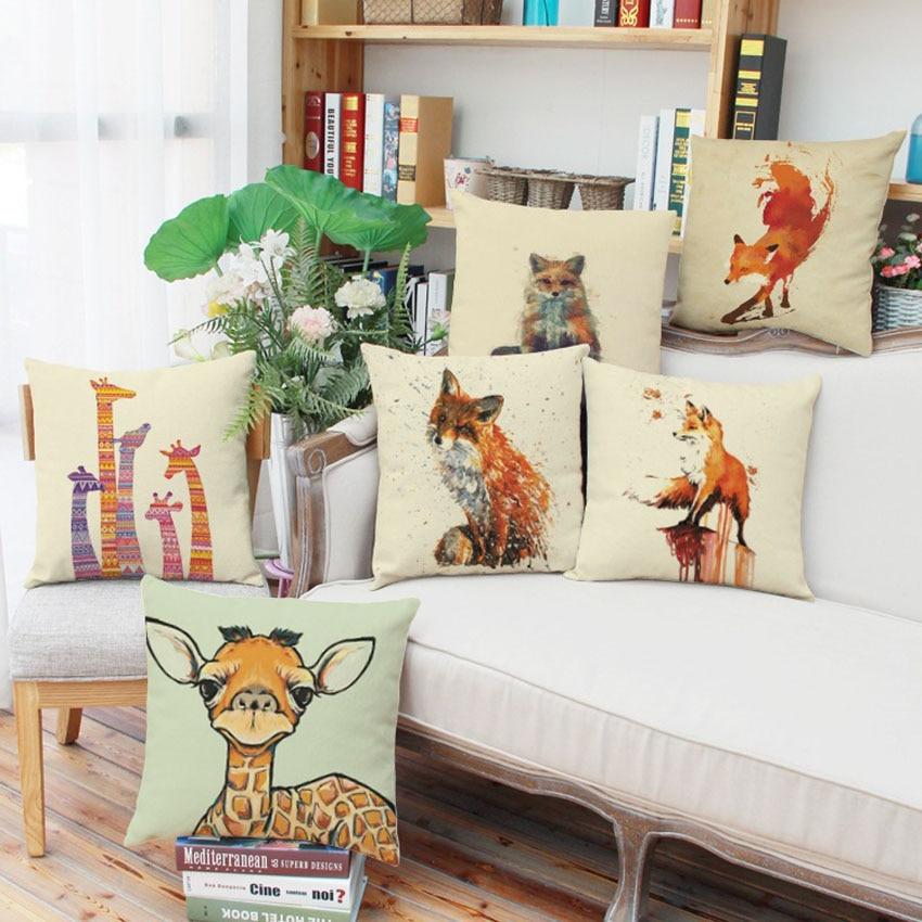 45 45cm Printed Cushions Cotton Linen Cushion Covers Cartoon Giraffe Flamingo Fox Home Decor