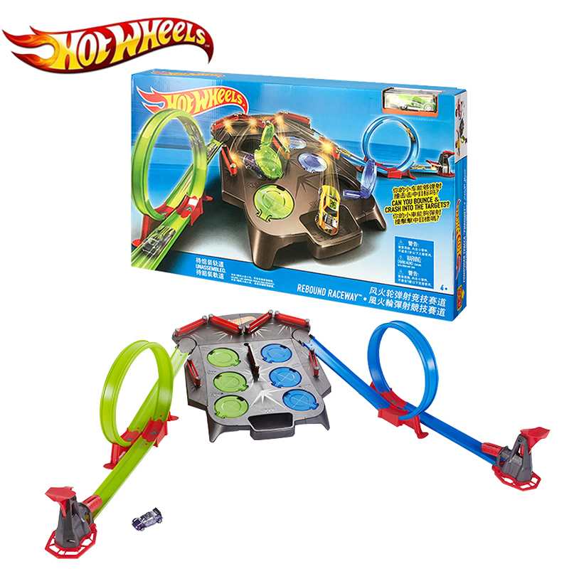 Hot wheels Rebound Raceway Play Set Plastic Track Matel Car Racing Score Winner Two Track Carro de brinquedo FDF27 Cars Toy electronic hot wheels track exclusive figure 8 raceway with 6 cars motorized 3 track layouts educational truck toy for boy x2586