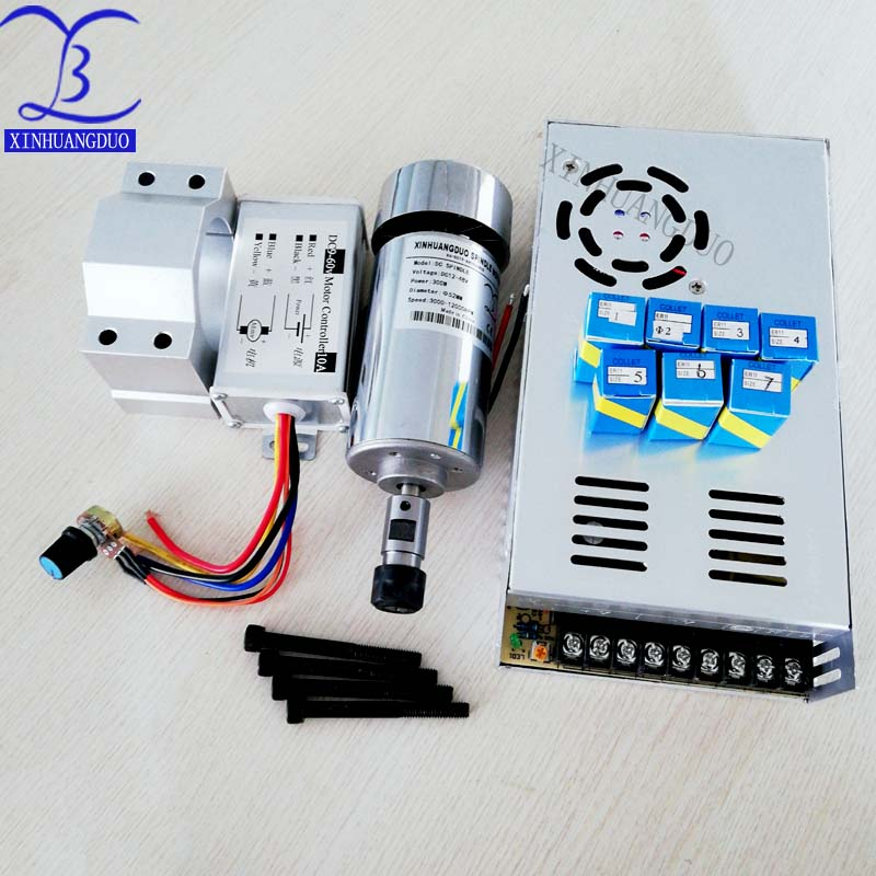cnc spindle 300W air cooled milling Motor & high speed spindle  power converter &52mm clamp & 7pcs er11 collet for DIY engravingcnc spindle 300W air cooled milling Motor & high speed spindle  power converter &52mm clamp & 7pcs er11 collet for DIY engraving
