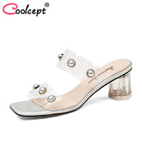 Coolcept Women High Heel Sandals Crystal Heel Beads Women Summer Shoes High Quality Sandals Party Wedding Shoes Size 34 39