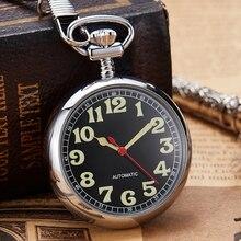 Reloj de lujo de cobre y plata Reloj de bolsillo mecánico, reloj de mano y viento, con cadena, reloj con números romanos para hombre