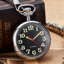 럭셔리 구리 실버 기계식 포켓 시계 손으로 바람 시계 fob 체인 시계 남자 로마 숫자 시계