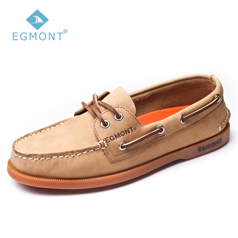 Egmont EG-09 Khaki Upper Sole Spring Summer Boat Shoes Mens Casual Loafers Genuine Nubuck Handmade Comfortable Breathable