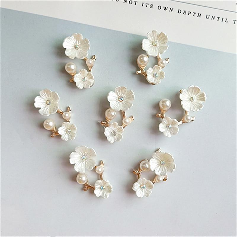 SEA MEW 40 PCS 1.5cm*2.5cm 1.7cm*2cm Fashion Metal Alloy Flowers Connectors Charm For Jewelry Making
