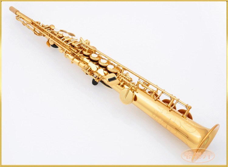 New Soprano Saxophone 475 B flat Electrophoresis Gold Top Musical Instruments Sax Soprano professional grade free