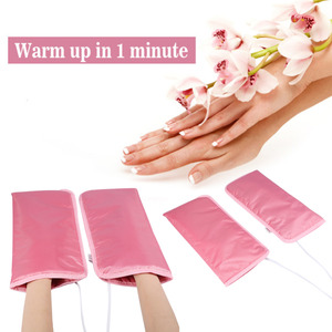 Image 4 - 1 paar Elektrische Nail art Maniküre Handschuhe Beheizt Mitts Infrarot Wachs Therapie Behandlung SPA Wärmer Für Fuß Hand Pflege Handschuhe werkzeuge