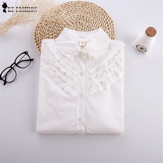 Autumn white Lace Flower Crochet Blouse with Brooch Peter Pan Collar Japanese fresh Sen Female Line Shirt Tee Tops T58327