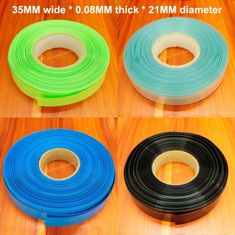 10m/lot Lithium Battery Heat Shrinkable Sleeve 21700 Package Sheath Pvc Shrinkage Insulation Film Tube Diameter 21mm