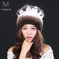 Hot2016 new autumn winter hat for women's 100% rex rabbit hair hat ear thermal thickening rabbit fur knitted hat fox fur flowers