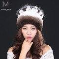 Hot2016 novo outono inverno hat para 100% cabelo do coelho rex das mulheres chapéu ouvido espessamento térmica pele de coelho chapéu de pele de raposa de malha flores