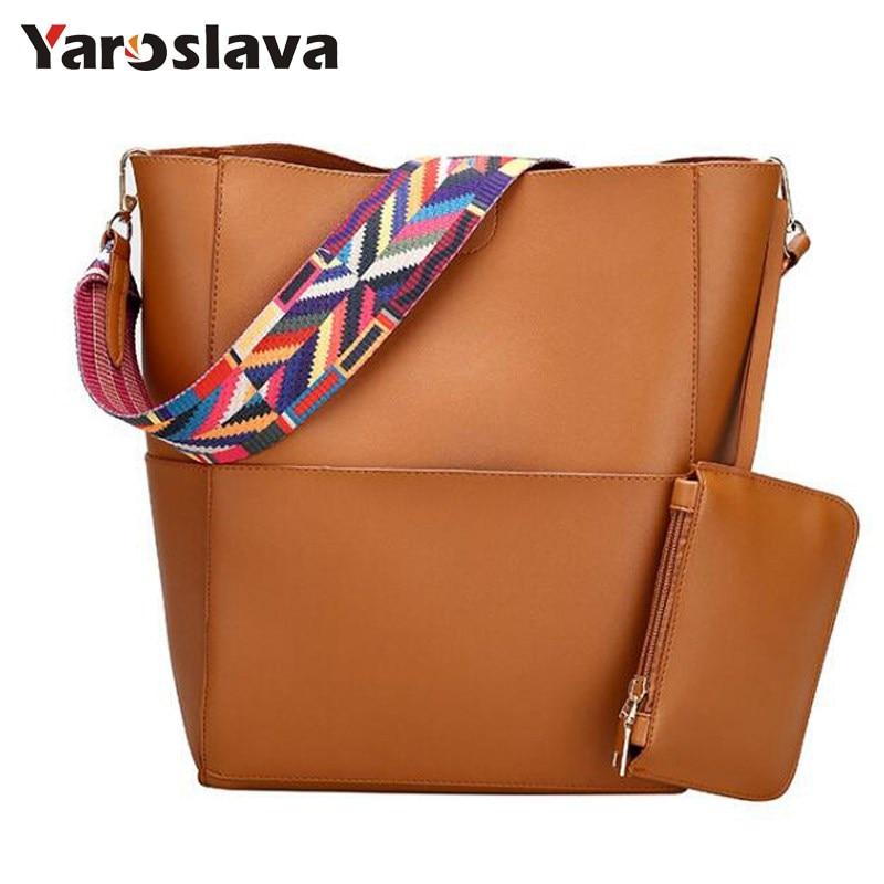 Brand Luxury Messenger Bags 2018 Designer Women Leather Wide Strap Bag Female Shoulder Bag Women Handbags Bucket Tote Big LL506