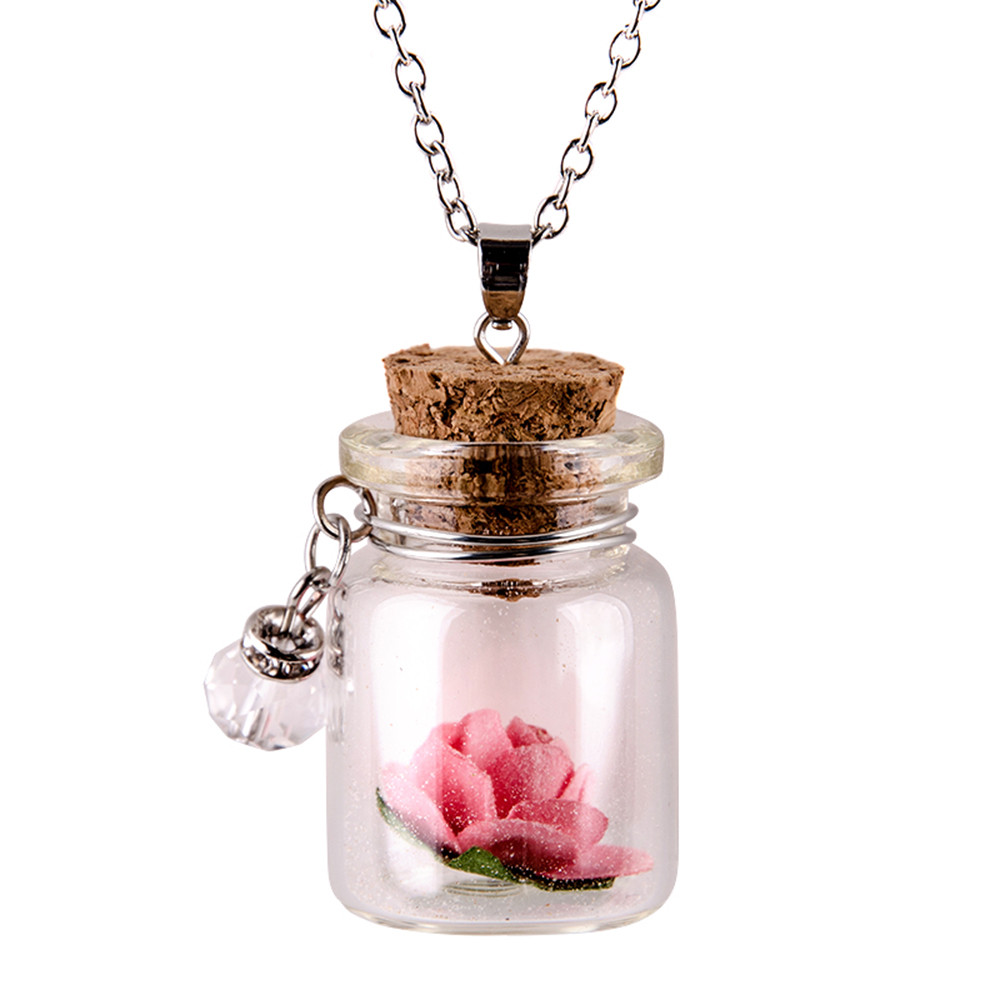 Auto Car Glow in the Dark Flower Glass Tiny Wishing Bottle Vial Necklace Pendant Chain Key Rings 2018 drop shipping