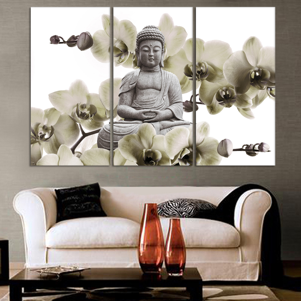Charming HD Buddha CANVAS PRINTS Modern 3 Panels Unframed Painting Home Decoration  Living Room Bedroom Decor Wall Fine Art No Frame In Painting U0026 Calligraphy  From ...