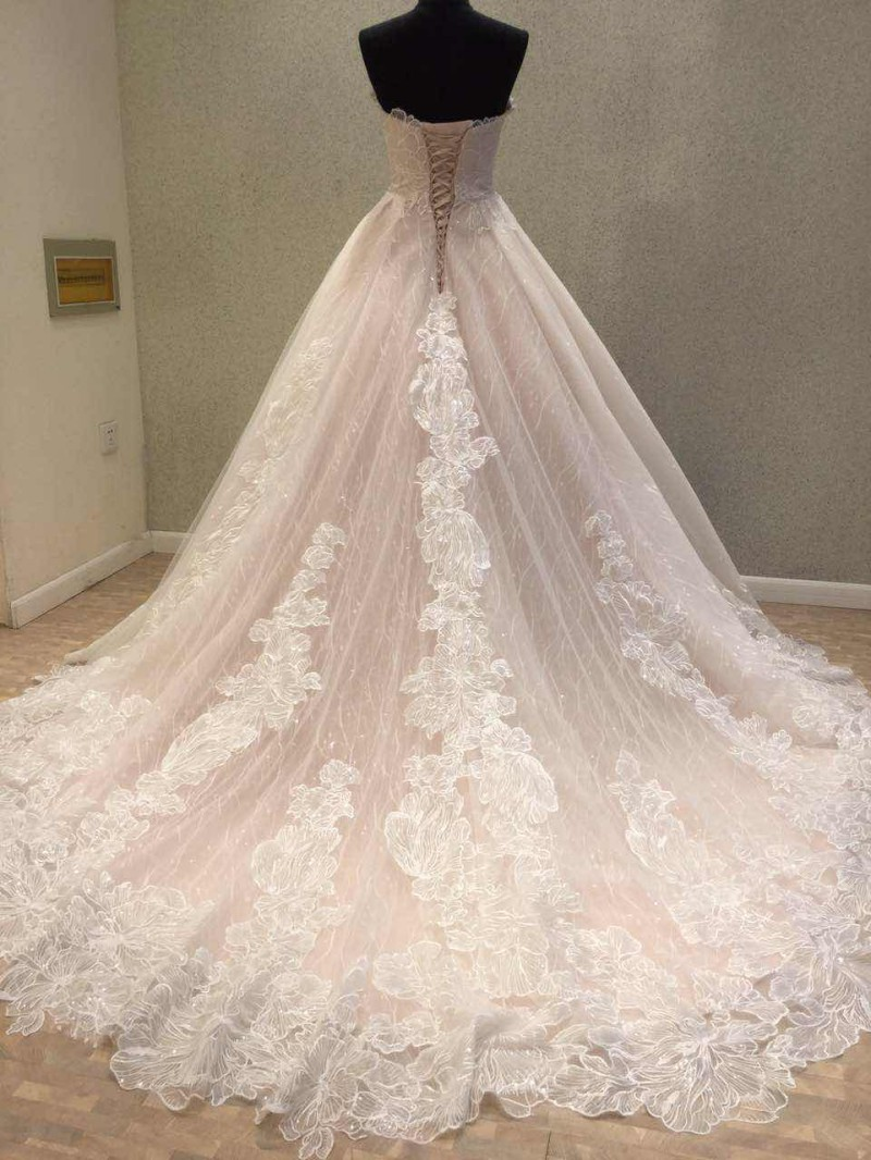 Newest Wedding Dress 2018 Vintage Lace Bride Dresses Corset Back Appliques  Flower Long Train Sweetheart Bridal Gown In Wedding Dresses From Weddings  ...