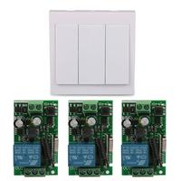 Wall Panel 3 CH Transmitter TX Receiver 433MHz RF Relay Wireless Remote Control Light Switches Power