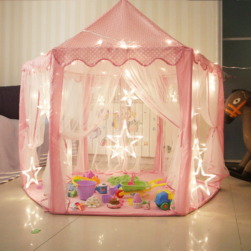 Children's Room Princess Castle Girl Games Play Ball Poll Anti-Mosquito Tent Hexagonal Private Space Outdoor Toy Tents For Kid