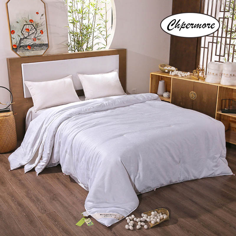 Chpermore High Quality 100% Natural Mulberry Silk Quilt Summer Thin Light Air Conditioning Comforters Cotton Cover King Queen