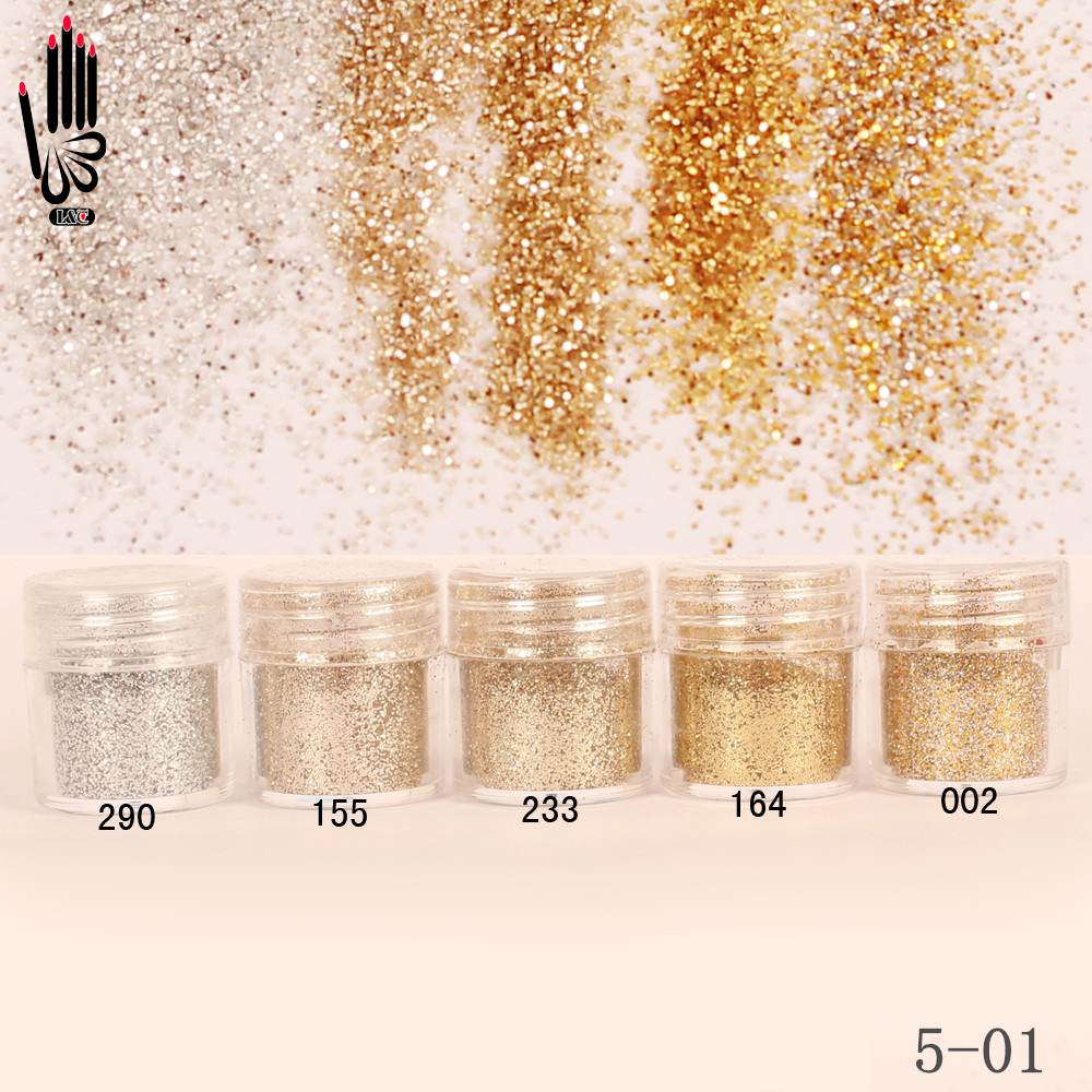 1 Jar/Box 10ml Nail Art Champagne Silver Gold Color Nail Glitter Fine Powder For NailDecoration 300 Colors for Gel Polish 5 01-in Nail Glitter from Beauty & Health