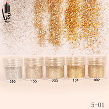1 słoik/pudełko 10ml Nail Art Champagne srebrny złoty kolor Nail Glitter drobny proszek do NailDecoration 300 kolory na żel polski 5 01