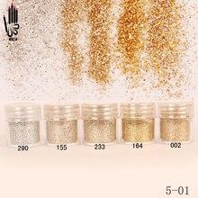 Poudre Fine pour décoration des ongles, couleur Champagne, argent, or, 1 pot par boîte, 300 couleurs de vernis Gel, 5 01