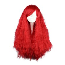 Mcoser 70 см Синтетические длинные вьющиеся волосы красного цвета партии 100% Высокая температура волокна парик WIG-505A