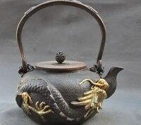 Işaretli Eski Çin Yaldızlı Bronz Ejderha Heykeli Demlik su ısıtıcısı Su Şişesi Çay seti|Statü ve Heykelleri|Ev ve Bahçe -