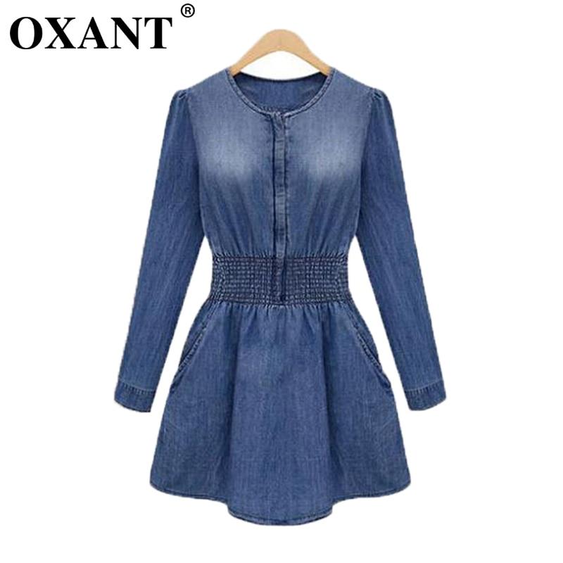 OXANT Hot Sale Spring Autumn Women Plus Size Jeans Denim klänning lång ärm Elastic Waist smal midja Fickor tillfällig kvinnlig D39